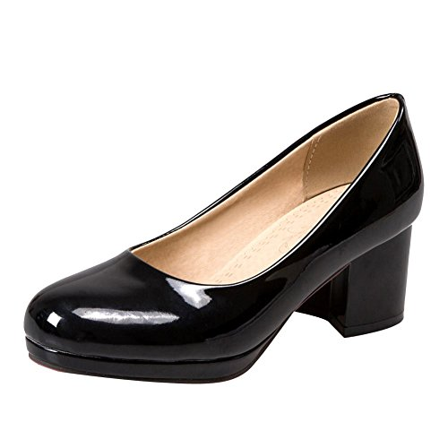 Mee Shoes Womens Sexy Block-heel Concise Court Shoes Black yJE5tdVR
