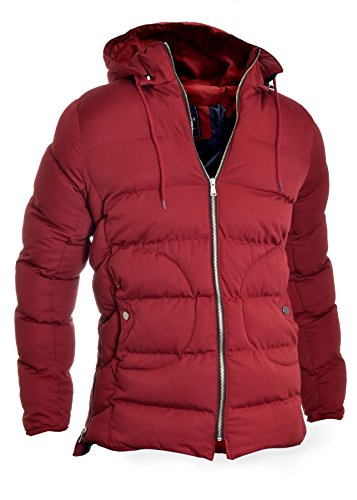 Casual Coat amp;R Jacket Work Fashion Burgundy Parka Cotton D Warm Winter Padded Lined Men's Long Hooded qwIvHpdf