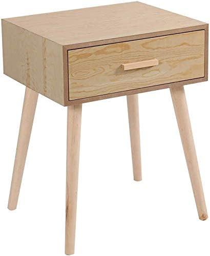 Vanimeu Furniture Wooden Bedside Table with 1 Drawer Side Storage Cabinet for Bedroom Black