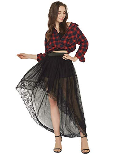 Women Sexy Mesh 4 Layers Long Tulle Skirt Floor Length Wedding Party Tutu Skirt (Black-2)]()