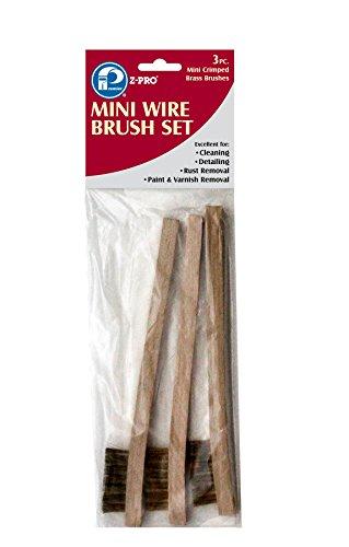 Premier 3 x 7 Row Brass Mini-Wire Brush with Wood Handle Set, 3 Piece, AR10211