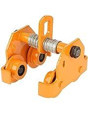 1T Carro de viga de empuje,ajustable, de acero inoxidable,con barra de empuje, para maquinaria pequeña de elevación manual,23x23.5x15.5cm,color amarillo