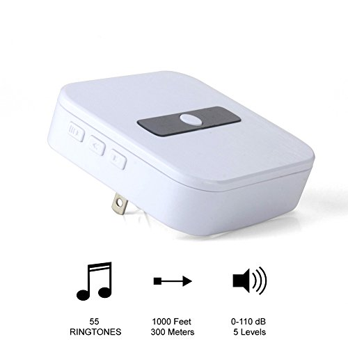 Prismtec Wireless Doorbell Chime Speaker Indoor Door Bell Chime Receiver For Wi-Fi Video Doorbell Pro Wifi Extender Cover Business/Home Security With Adjustable Volume /Chimes And Push Button White