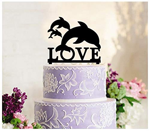 Delia32Agnes Decoration Cake Topper Cup Cake Topper Anniversary Wedding Birthday Party Dolphin Show Silhouette