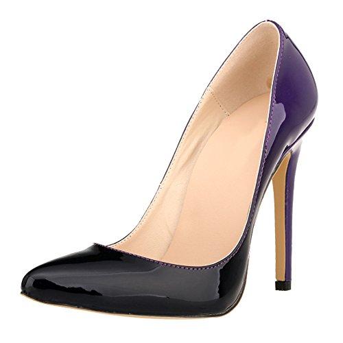 Zhuhaixmy Women Gradient Color Party Club High Heels Shoes Stilettos Pointed Pumps Shoes Purple XkvuYAruh