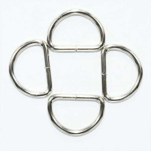 Metal D Ring 3/8 inch Non Welded Nickel Plated Pack Of 100 Sacoora