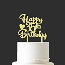 Party Decorations - Happy 35th Birthday Gold Glitter Acrylic Cake Topper   Hello 35, Sweet Thirty-five Years Old Birthday Party Decoration Supplies