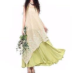 Vintage Vestidos Women Dress Summer Casual Loose O Neck Short Sleeve Embroidery Long Maxi Dress Plus Size Xxl