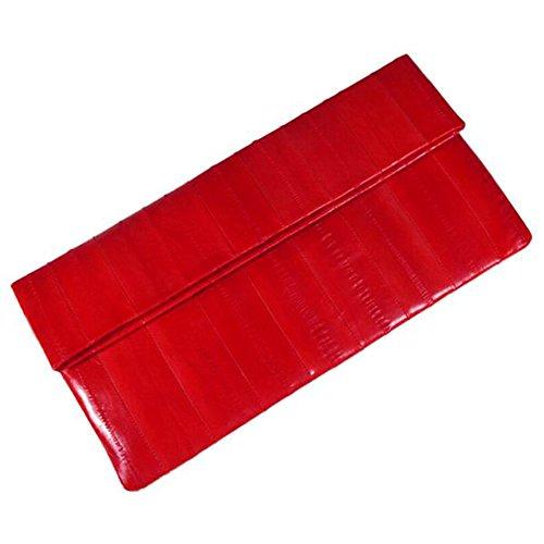 Eel Skin Clutch - Women's Genuine Eel Skin Big Purse Handbag Wallet Clutch Red