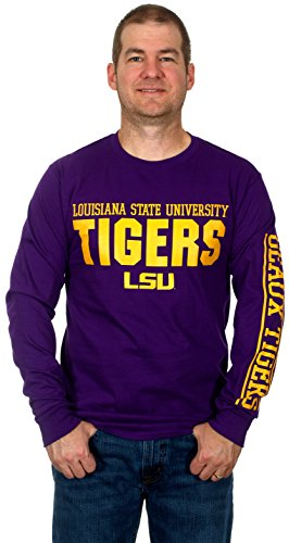 Louisiana State University Tigers Men's Long Sleeve Cotton T-Shirt (Large) (State University Tigers Football)