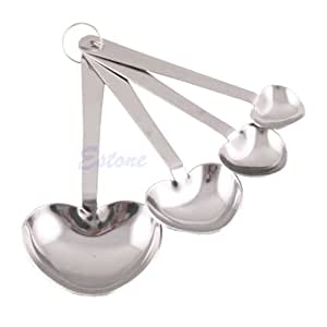 New Stainless Steel Heart Shaped Measure Measuring Spoons Cooking Baking Scoop Cup