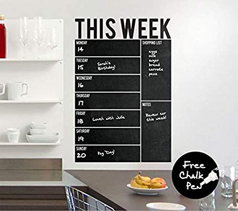 Amazon.com: Pegatinas de pared de pizarra semanal para ...