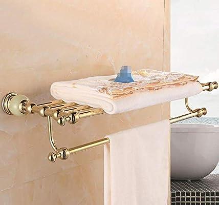 ZHFC Mármol del baño baño Toalla Estante Europeo High-End Oro Doble Toalla Bar baño Accesorios Porta Toalla Bares Monte Toalla Estante Inicio decoración ...
