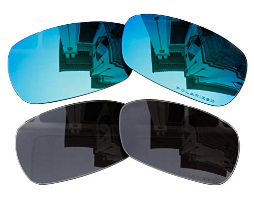 2 Pairs Polarized Lenses Replacement black & blue for Oakley Crosshair 2.0 (OO4044) Sunglasses