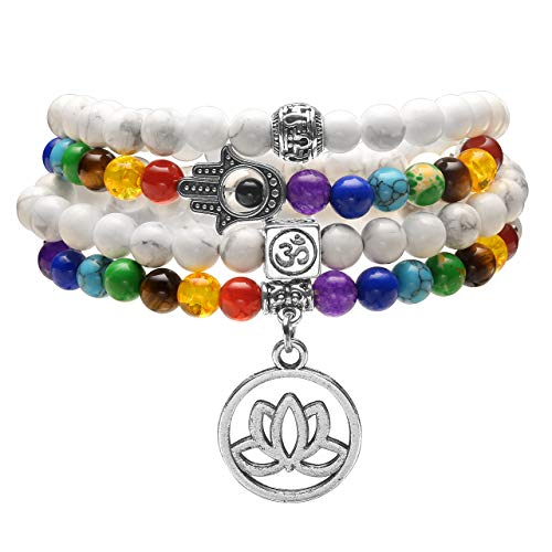 Jovivi 108 Mala Prayer Beads Bracelet Necklace, Natural White Turquoise 7 Chakra Multilayer Healing Crystals Yoga Stretch Bracelets with Lotus Flower Charm for Meditation