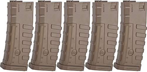 Evike Command Arms CAA Licensed Magazine for M4 M16 AEG Airsoft Rifles by King Arms (Type: 140rd Mid-Cap/Dark Earth / 5 Pack)