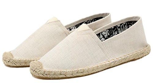 Idifu Casual Para Hombre Low Cut Flat Slip On Lino Alpargatas Mocasines Beige