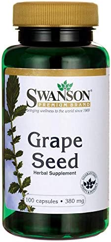 Swanson Grape Seed Heart Antioxidant Free Radicals Healthy Blood Pressure Support Polyphenols OPCS Oligomeric Proanthocyanidins Herbal Supplement 380 mg 100 Capsules Caps
