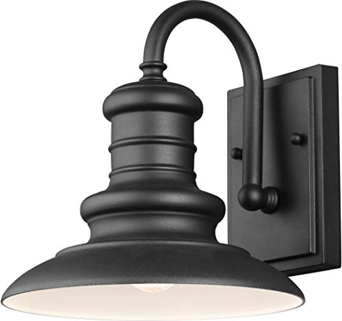 (Feiss OL8600TXB Restoration One Light Wall Lantern from Redding Station Collection in Black Finish, 10