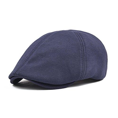 VOBOOM Men's Cotton Flat Ivy Gatsby Newsboy Driving Hat Cap (Style3-Navy) (Lightweight Ivy Cap)