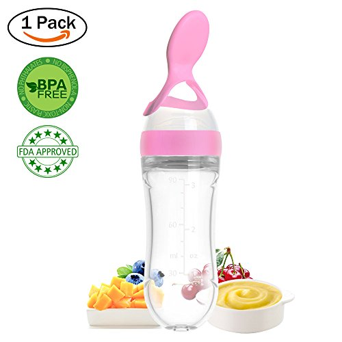 Lyonice Silicone Squeeze Bottle Spoon - Baby Feeding Cereal, Rice, Juice, Infant Newborn Toddler Baby Food Dispensing Spoon- 90ml Pink