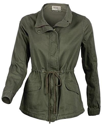 Women's Premium Vintage Wash Olive Green Lightweight Military Fashion Twill Jacket Large