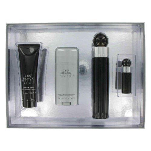 Perry Ellis 360 Black By Perry Ellis Gift Set -- 3.4 Oz Eau De Toilette Spray + 3 Oz After Shave Balm + 2.75 Oz Deodorant Stick + .25 Oz Mini Edt Spray For (360 Black Gift Set)