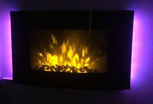 TruFlame 2kW Black Curved Glass Screen Wall Mounted Fire Flame Effect Fireplace with 7 Colour LED Backlights