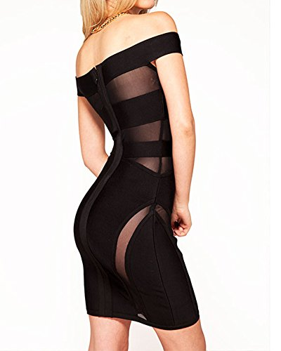 Shoulder Off Women's Bandage Cocktail Mesh Whoinshop Dress Black Sexy IatIfx