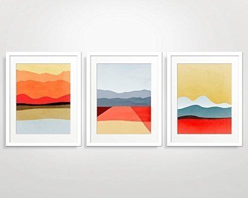 Mid Century Modern Wall Art Set of 3, Red Art Print Abstract
