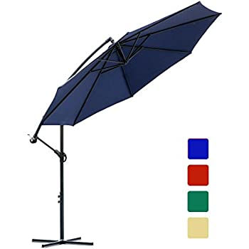 10 Ft Offset Cantilever Patio Umbrella Outdoor Market Hanging Umbrellas U0026  Crank With Cross Base ,