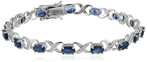Sterling Silver 8 cttw Blue Sapphire and Diamond Accented XO XO Tennis Bracelet, 7.25