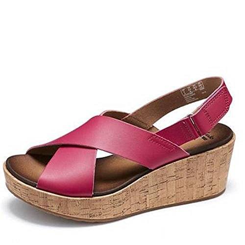 Clarks Stasha Hale Leather Wedge Shoe With Loop Fastening - Raspberry/Fuchsia - UK 9 ki3U6