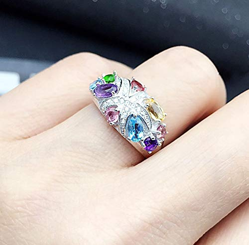 All Natural Tourmaline Chrome Diopside Citrine Amethyst Topaz Ring, Sterling Silver Rings for Women, Engagement Cocktail Wedding Ring