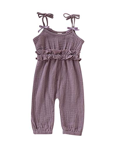 Toddler Newborn Baby Girl Halter Linen Romper Playsuit Solid Color Jumpsuit with Self Tie Straps Overall Outfit (Purple, 6-12 Months) -
