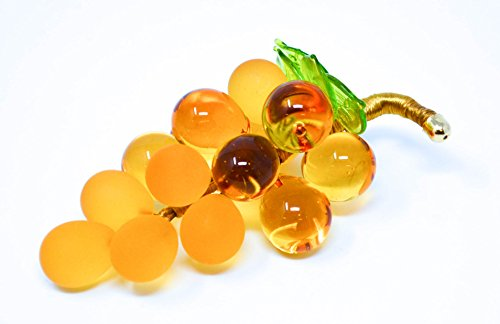 14k Yellow Figurine (Glass Grape Cluster, Murano, Medium, amber)