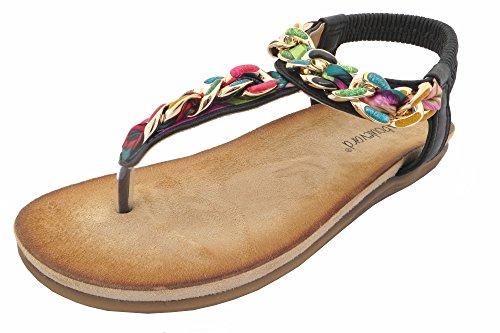 Boulevard Helen Elasticated Multi Jewel Trim Toe Post Summer Sandals Black