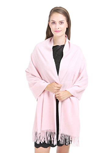Saferin 78 x 28 Women Thick Warm Solid Cashmere Lambswool Blend Pashmina Wrap Shawl Pink (20Light Pink)