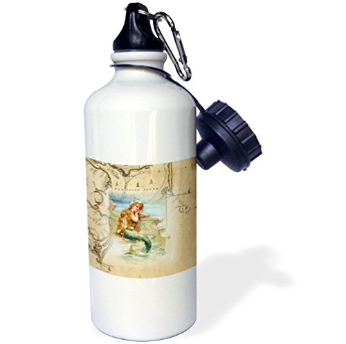 3dRose Print of Vintage Map Outer Banks with Mermaid-Sports Water Bottle, 21oz (wb_204851_1), 21 oz Multicolor