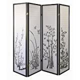 Legacy Decor Black 4-panel Bamboo Floral Room Divider Screen