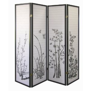 Legacy Decor Black 4-panel Bamboo Floral Room Divider (Rice Paper Doors)