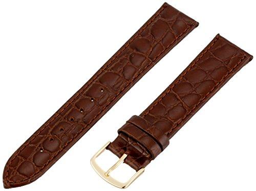 Republic Mens Crocodile Grain Leather Watch Strap, Brown, Si