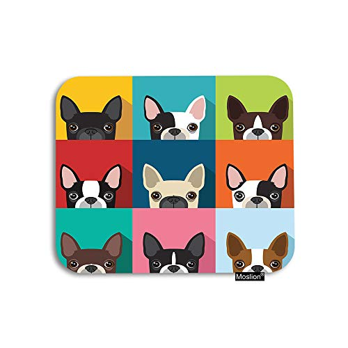 (Moslion Dog Mouse Pad Boston Terrier Cute Fun Cartoon Pets Dogs Head Face Gaming Mouse Pad Rubber Large Mousepad for Computer Desk Laptop Office Work 7.9x9.5 Inch)