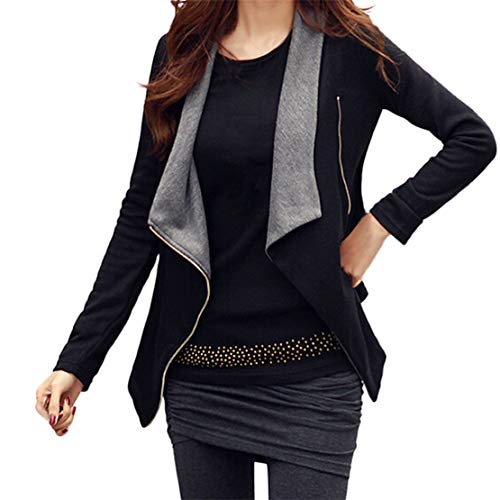 Mikey Store Women Solid Drape Front Open Zipper Lady Casual Cardigan Thin Coat Tops Outcoats ()