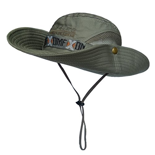 - LETHMIK Boonie Hat Summer Fishing Sun Outdoor UV Protection Camouflage Hats with Chin Cord Army Green
