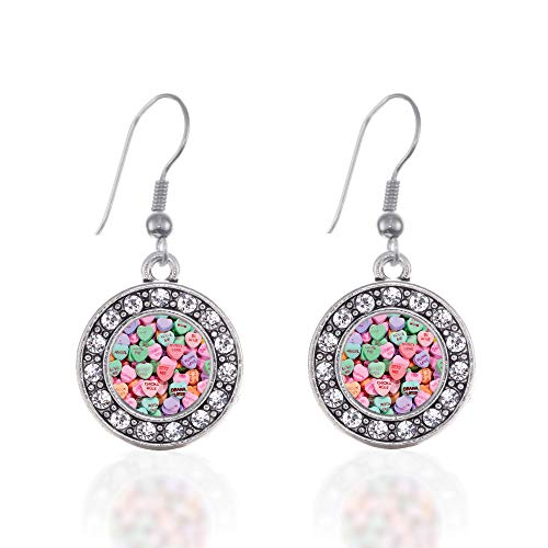 Inspired Silver - Candy Hearts Charm Earrings for Women - Silver Circle Charm French Hook Drop Earrings with Cubic Zirconia Jewelry