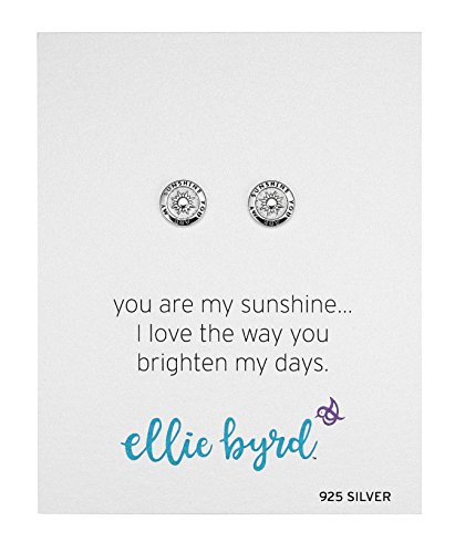 ellie byrd Sterling Silver You Are My Sunshine Sentiment Round Stud Earrings