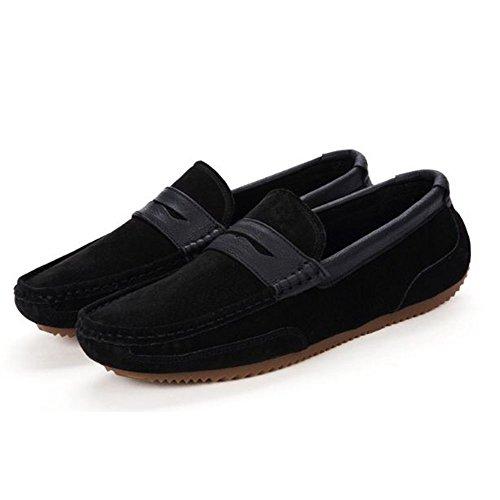 Cuero Slacker Para Negro Hombres Season Real De Conducción Zapatos Spring PqtnpSwOP
