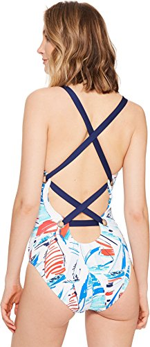 LAUREN Ralph Lauren Women's Yacht Club Shaping Strappy One-Piece w/Removable Cups Multi 10