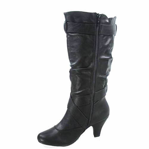Forever Link Maggie-39 Women's Fashion Low Heel Zipper Slouchy Mid-Calf Boots Shoes,Black,7